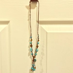 Handmade Leather Y-Necklace, Turquoise Beads